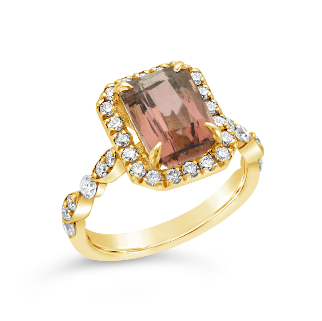 Ladies Custom 14k Yellow Gold Peach Tourmaline Ring