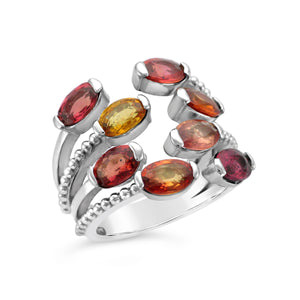 Ladies Custom 10k White Gold Orange & Yellow Sapphire Ring