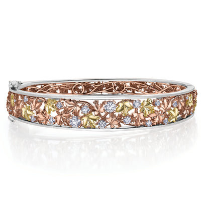 Seasons by Shelly Purdy Falling Leaves Canadian Diamond Bangle