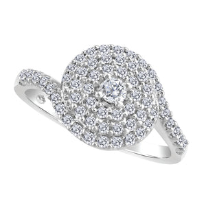 Beverly Hills Jewellers 10k White Gold Diamond Cluster Ring