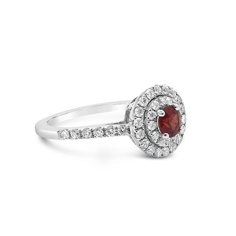 Double Halo Diamond Ruby Ring