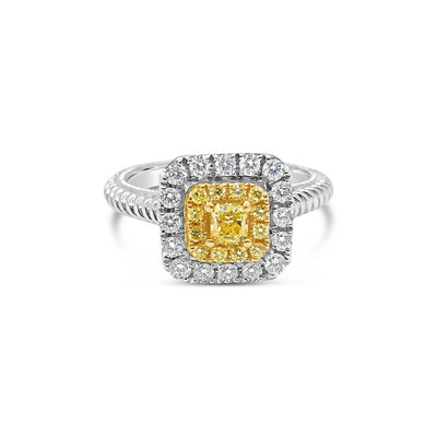 Double Halo Yellow Diamond Ring