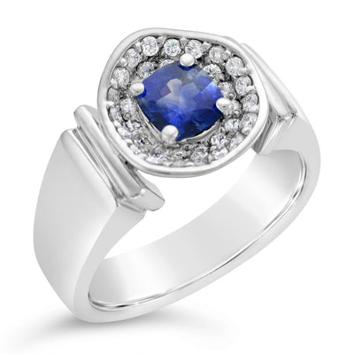 Ladies Custom 14k White Gold Sapphire Ring