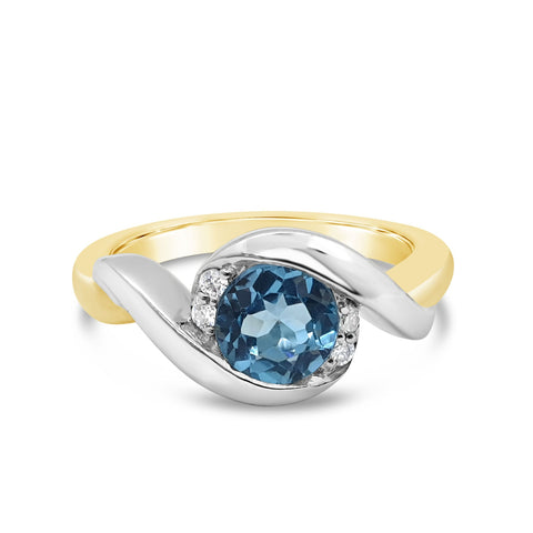 By-Pass Swiss Blue Topaz Ring