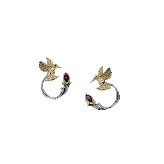 Keith Jack - Silver & Gold Humming Bird Stud & Jacket Earring