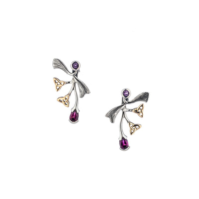 Keith Jack - Amethyst & Rhodolite Asymmetrical Rhapsody Post Earrings