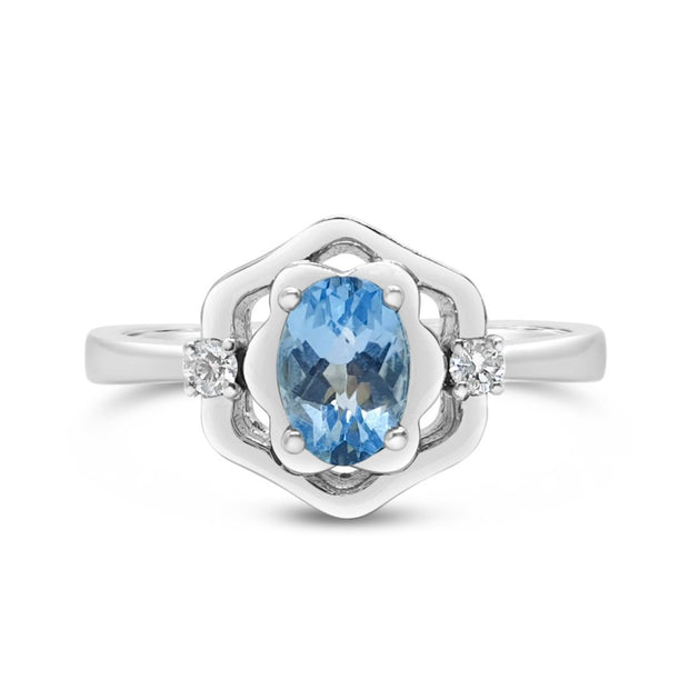 Art-Deco Blue Topaz Ring