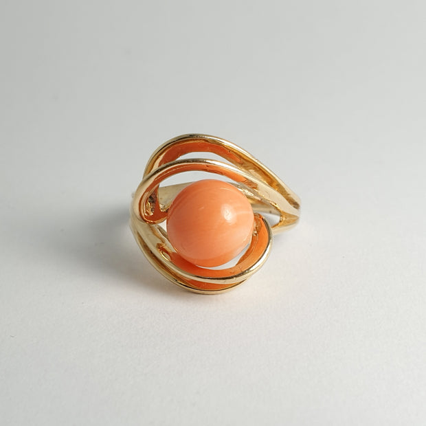 Coral Yellow Gold Ring