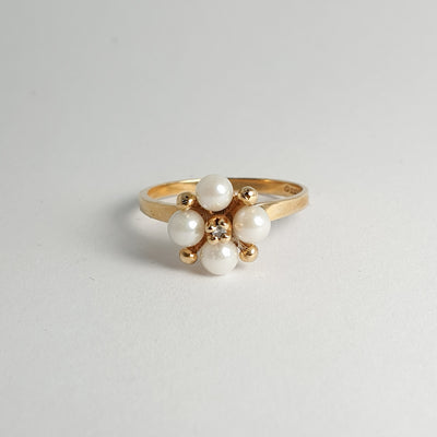 Estate Pearl & Diamond Ring