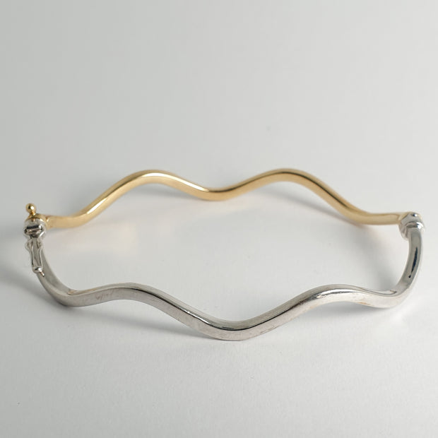 Estate Wavy Two Toned Bangle