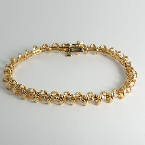 Estate Yellow Gold Diamond Tennis Bracelet