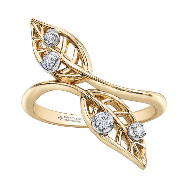 Seasons by Shelly Purdy Canadian Diamond Willow Leaf Ring
