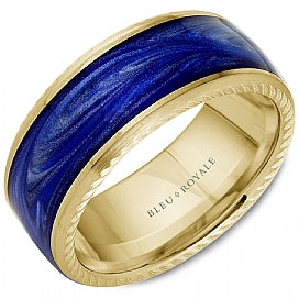 Bleu Royale - Enamel & 14k Gold Wedding Band
