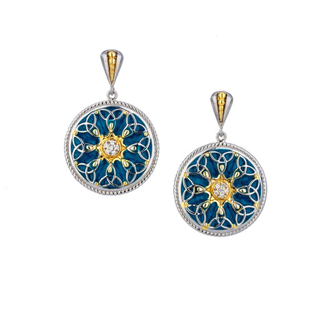 Sky Blue Enamel CZ Trinity Post Earrings