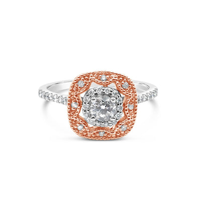 0.36ctw 14k  Rose Gold & White Gold Engagement Ring