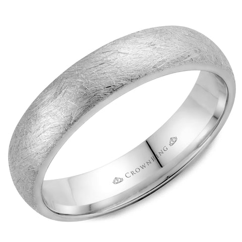 CrownRing - 10k Gold Simple Diamond Brush Wedding Band