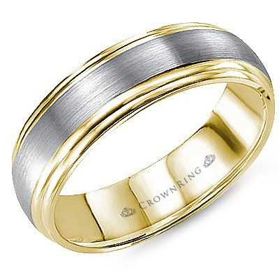 CrownRing - 10k Gold Sandpaper Center & High Polish Yellow Gold Sides Wedding Band