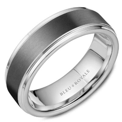Tantalum & 14k white gold CrownRing wedding band