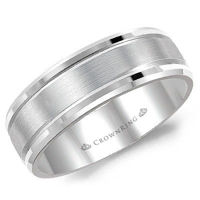 CrownRing - 10k Gold Sandpaper Center & High Polished Double Tapered Edge Wedding Band