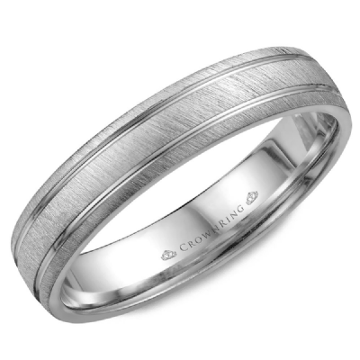 CrownRing - 10k Gold Hard Frosted Top & High Polish Grooves Wedding Band