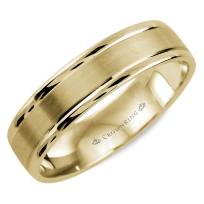 CrownRing - 10k Yellow Gold Beveled edges with Sandpaper Finish Wedding Band
