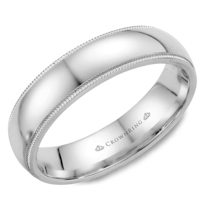 CrownRing - 10k Gold Simple High Polished Center & Fine Milgrain Edge Wedding Band
