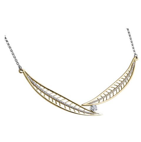 Shelly Purdy Yellow Gold Diamond Leaf Necklace