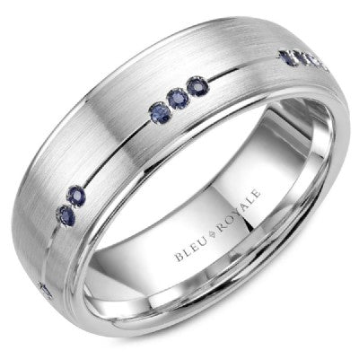 14K White Gold & Sapphire Bleu Royale Wedding Band