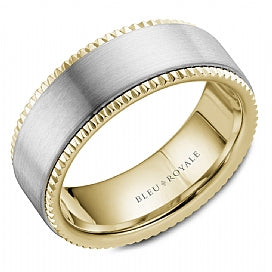 14K White Gold & Yellow Gold Bleu Royale Wedding Band