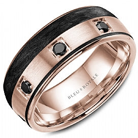 14K Rose Gold & Black Carbon Bleu Royale Wedding Band