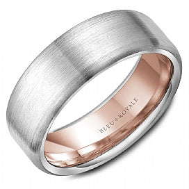 14K White Gold & Rose Gold Bleu Royale Wedding Band