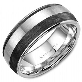 14K White Gold & Black Carbon Bleu Royale Wedding Band