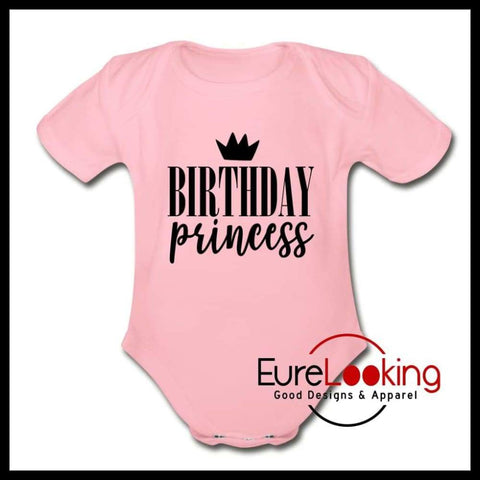 Birthday Princess Short Sleeve Baby Bodysuit Eure_Looking_Good_Apparel light pink Newborn