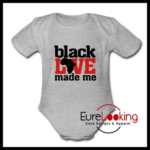 Black Love Short Sleeve Baby Bodysuit Eure_Looking_Good_Apparel heather gray Newborn