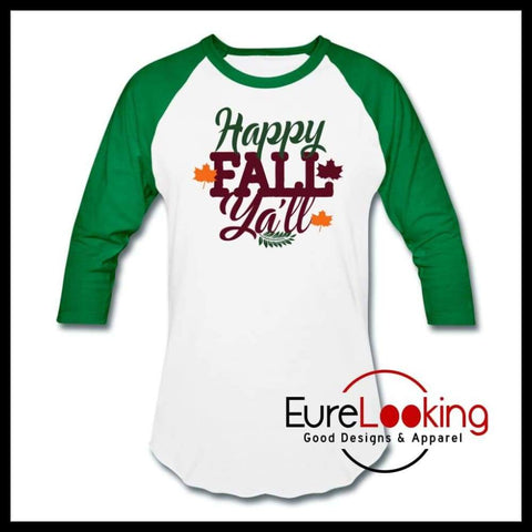 Happy Fall Ya'll Eure_Looking_Good_Apparel white/kelly green S
