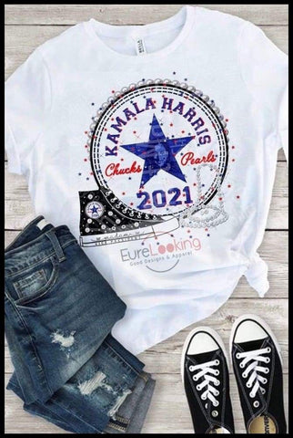 Inauguration of Madam VP Kamala Harris Chucks and Pearls t shirt Eure_Looking_Good_Apparel