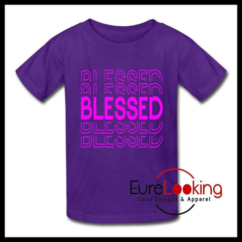 Kids Blessed Tee Eure_Looking_Good_Apparel purple XS