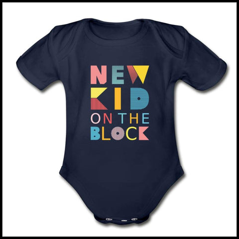 New Kid Short Sleeve Baby Bodysuit Eure_Looking_Good_Apparel dark navy Newborn