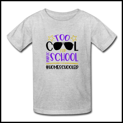 Too cool for public school Kids' T-Shirt Eure_Looking_Good_Apparel heather gray S