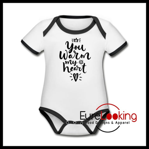 You Warm My Heart Baby Onesie Eure_Looking_Good_Apparel white/black Newborn