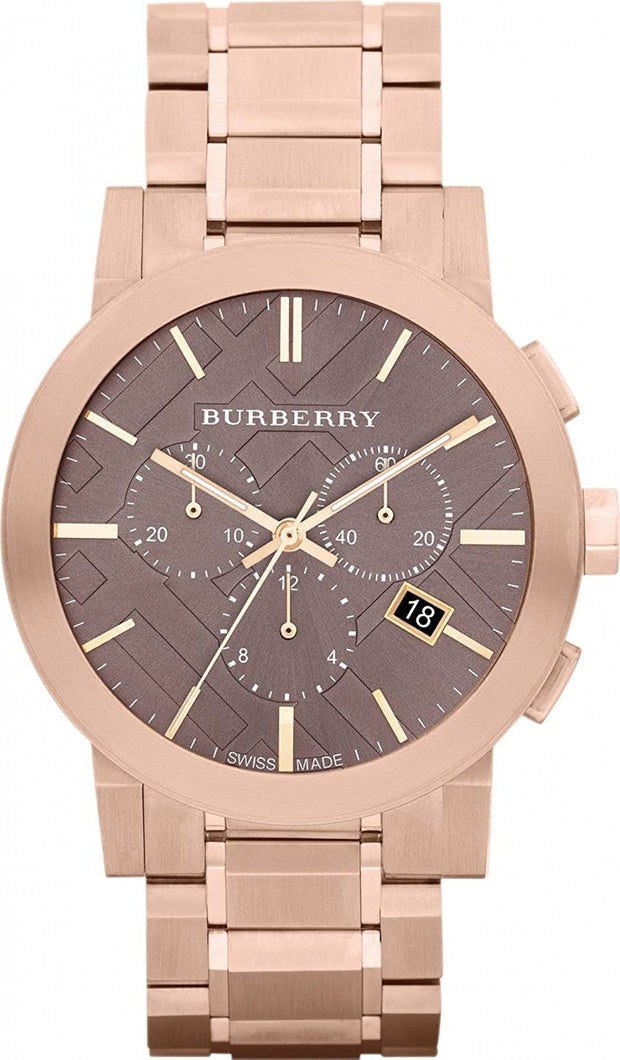 BURBERRY Taupe Chronograph Dial Rose Gold Plated Steel Men's Watch BU9353