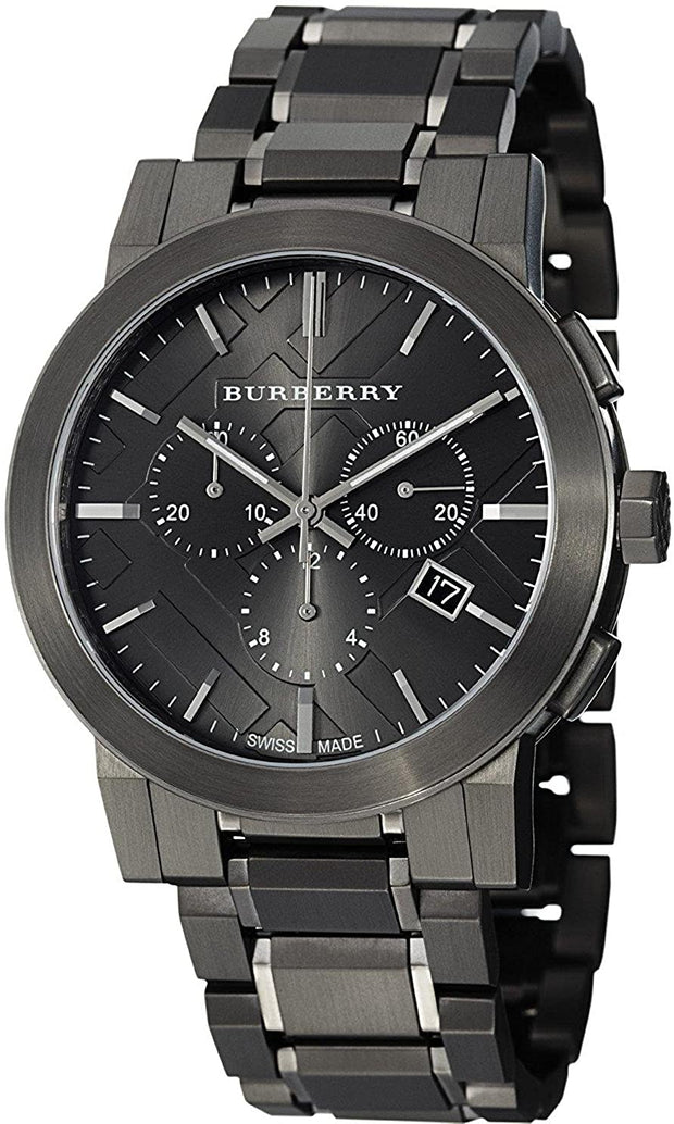 BURBERRY Chronograph Dark Grey Dial Black Ion-plated Men's Watch BU9354