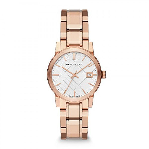 Burberry Watch Women's White Dial Rose Gold Band Rose Gold Case BU9104