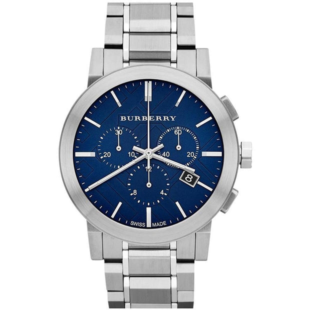 BURBERRY Chronograph Blue Dial Stainless Steel Men's Watch BU9363