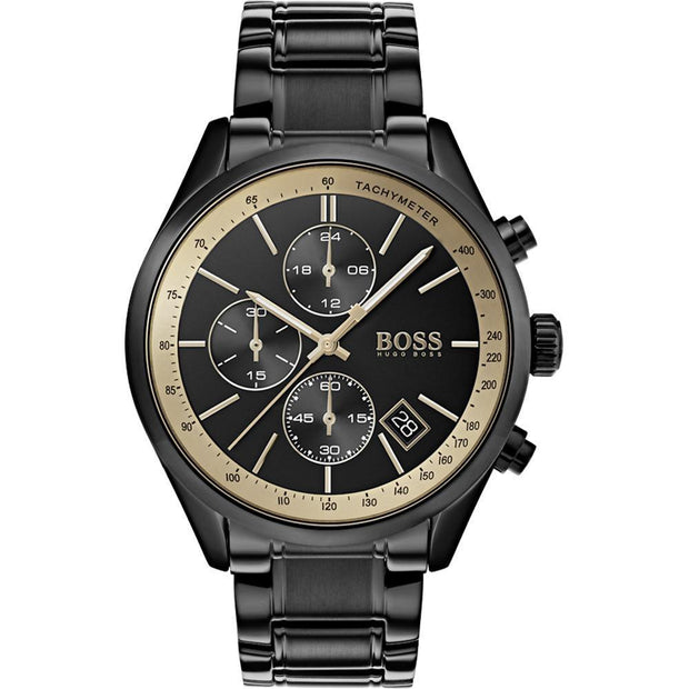 Hugo Boss Men's Grand Prix Black Stainless Steel Chronograph Watch HB1513578