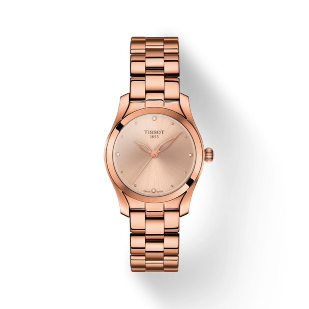 TISSOT T-Wave Rose Diamond Dial Ladies Watch T112.210.33.456.00