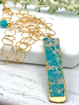 Persian Turquoise Pendant Necklace Gold