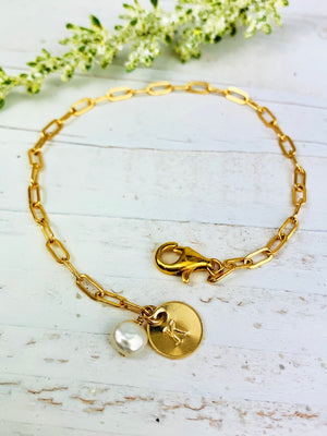 Dainty Gold Fill Bracelet with Initial