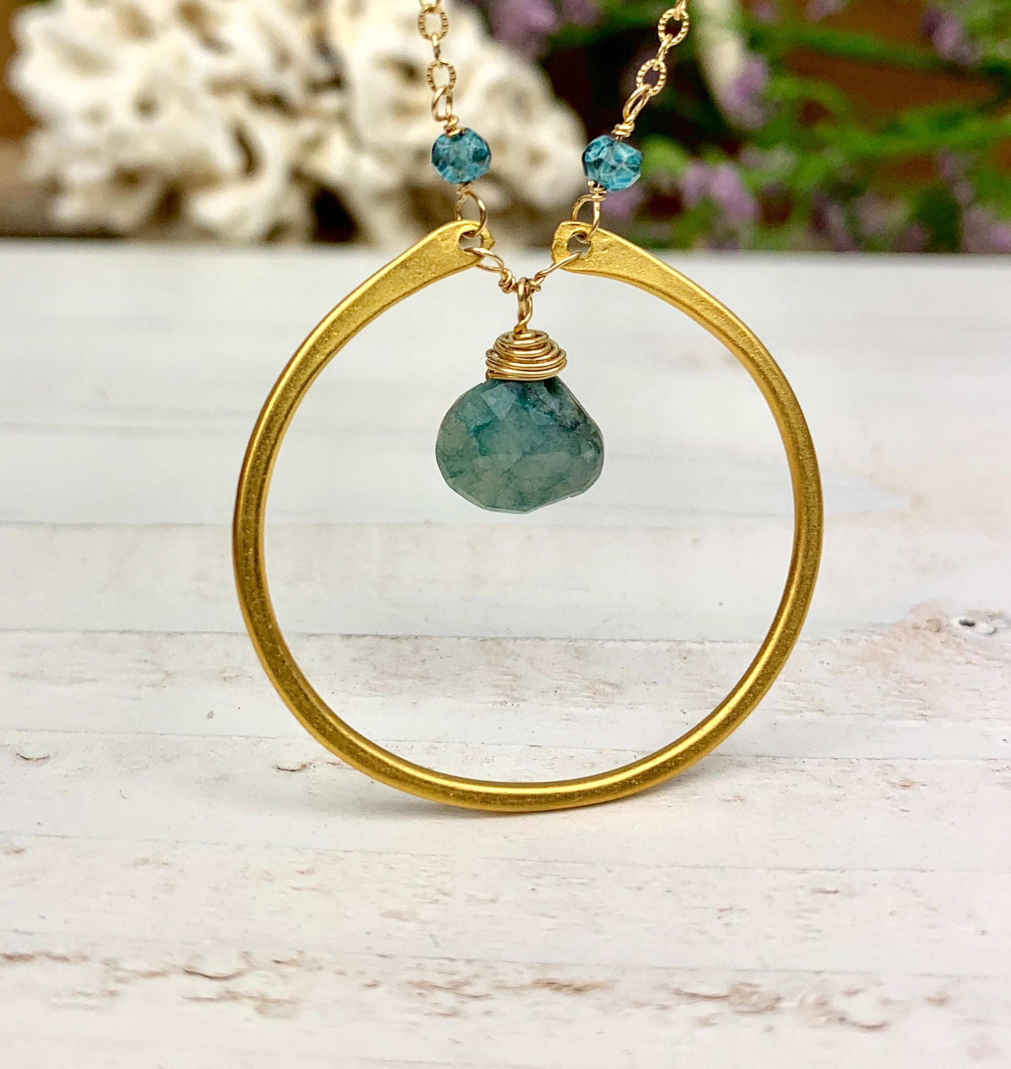 Circle Pendant with Gemstone
