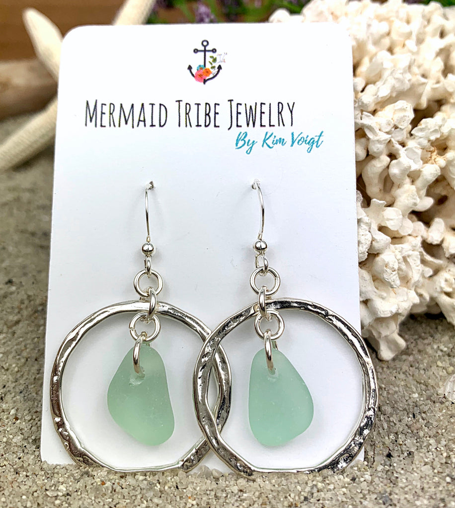 Sea Glass Hammered Hoops